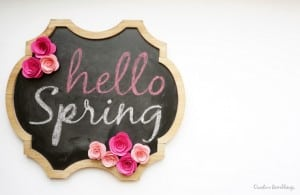 Spring chalkboard with Silhouette rolled paper flowers