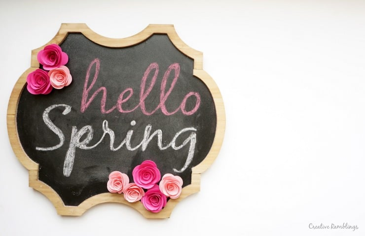 Spring Chalkboard with Rolled Paper Flowers