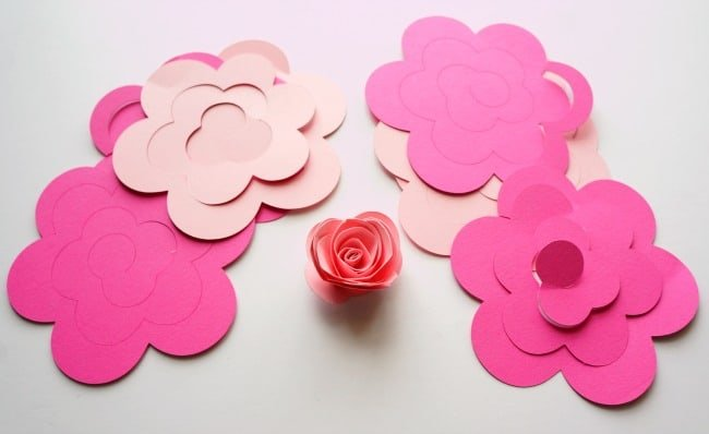 Silhouette rolled paper flowers