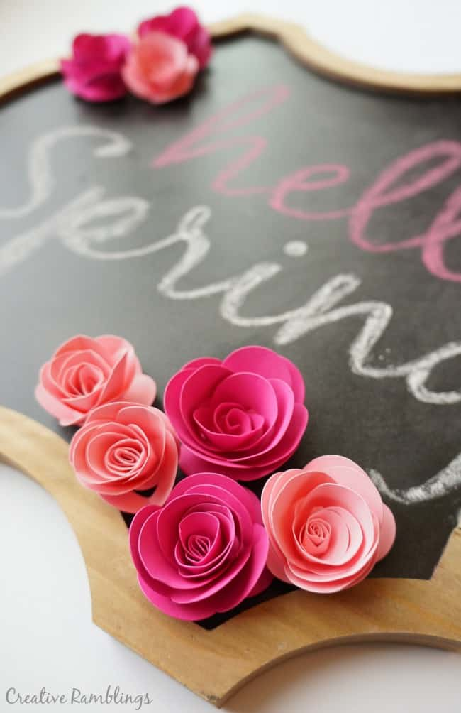 Hello Spring chalkboard with Silhouette rolled paper flowers