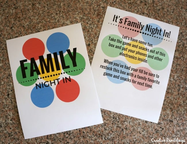 Family Night In Game Box Printables #GameNightIn AD