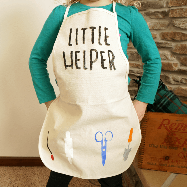 Little helper stenciled kids apron with a Silhouette