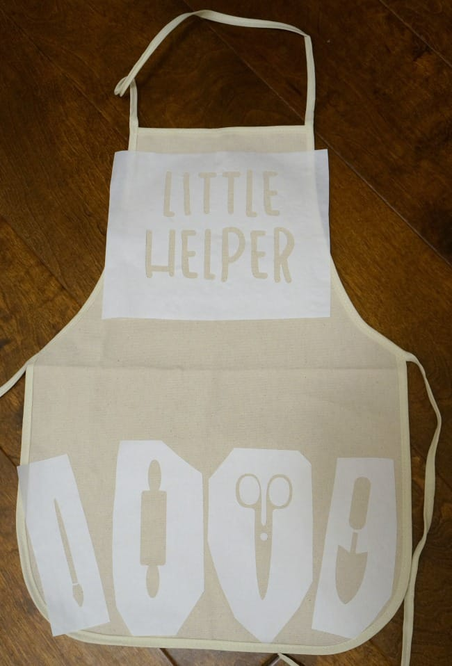 Little helper kids stenciled apron with freezer paper and a silhouette