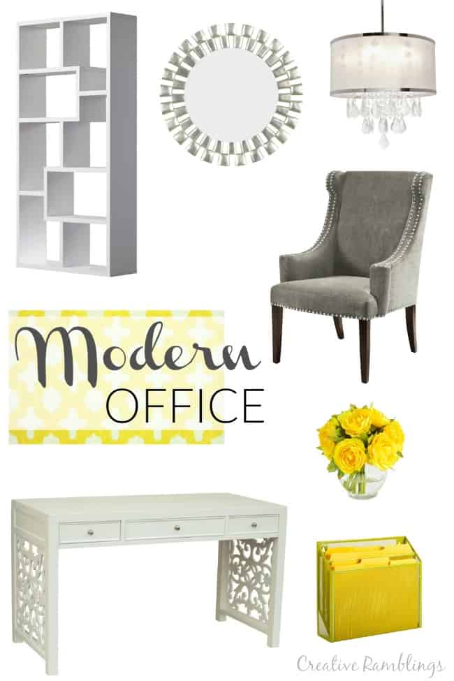 Update your office with clean modern office pieces and pops of cheery yellow
