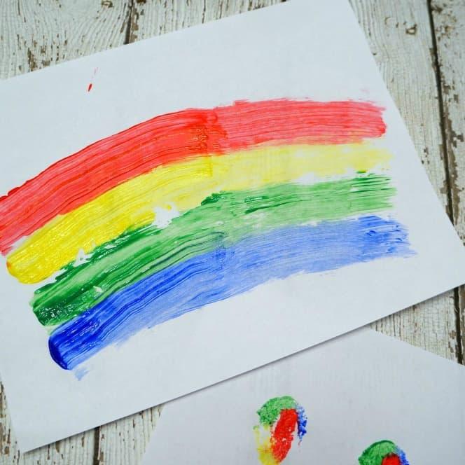 Rainbow sponge paint with kids