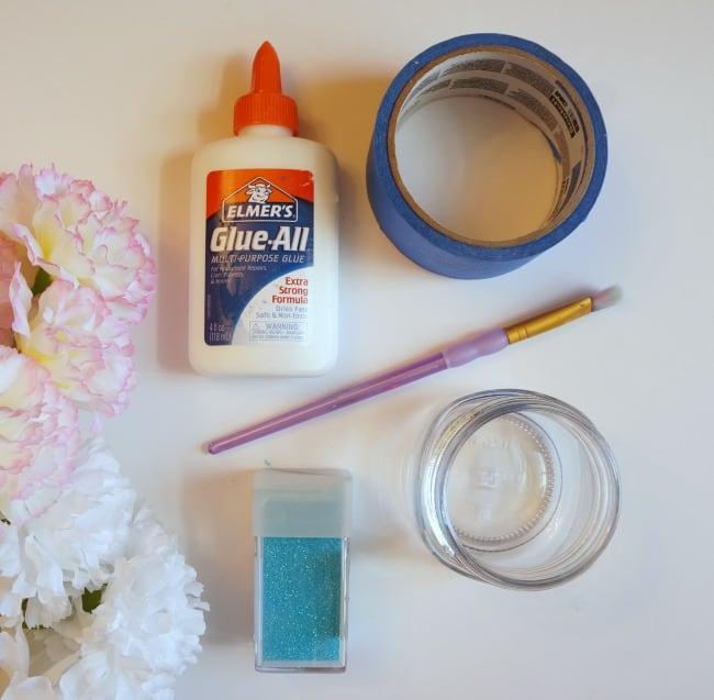 `Glitter mason jar vase