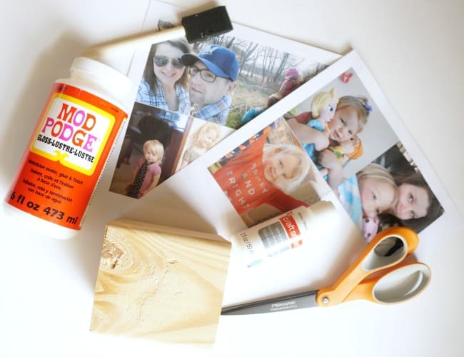 Supplies for a wood block Instagram photo cube