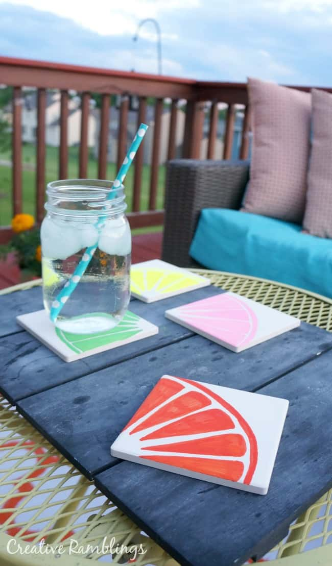 These are so bright and fun, easy to make graphic fruit painted coasters