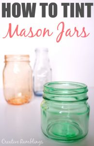 Such an easy way to tint glass mason jars. One supply, no baking required!