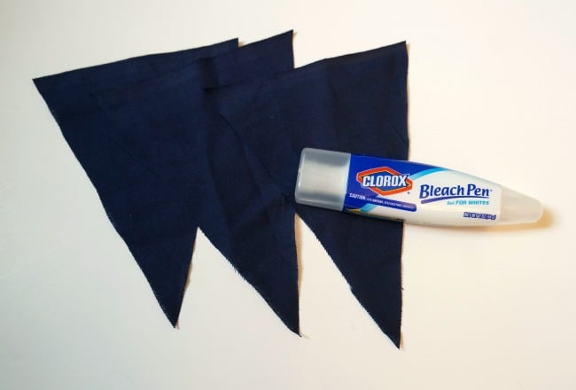 Patriotic banner with fabric and bleach pun