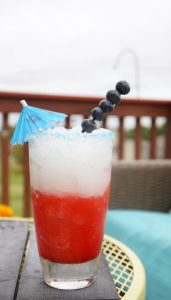 This red white and blue patriotic frozen drink is so easy to make.