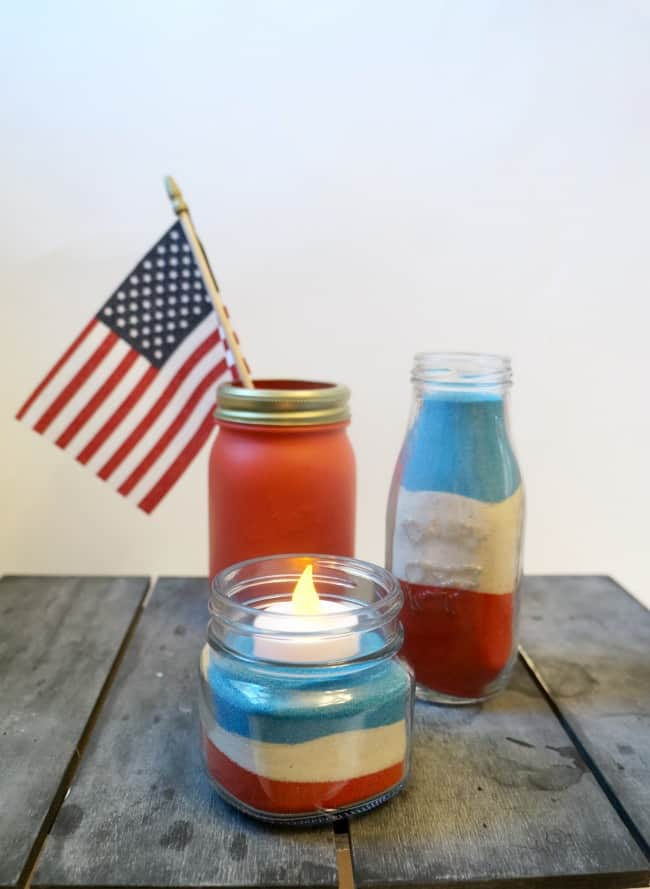 Easy layered sand jar centerpiece, red white and blue patriotic jars for summer