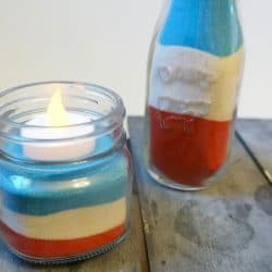 Red White and Blue Sand Jar Centerpiece