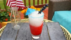 Red white and blue patriotic frozen cocktail