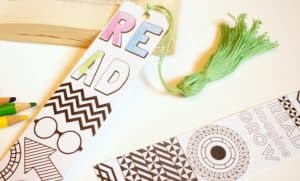 back to school coloring bookmark and tassel