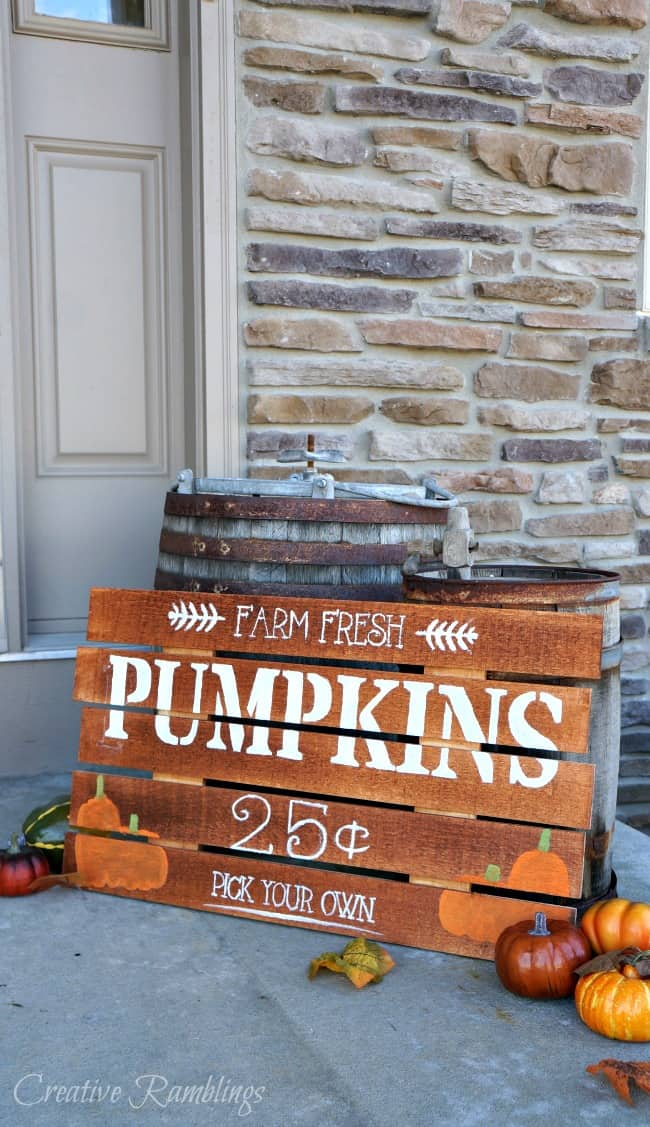 Farm fresh painted pumpkin wood sign