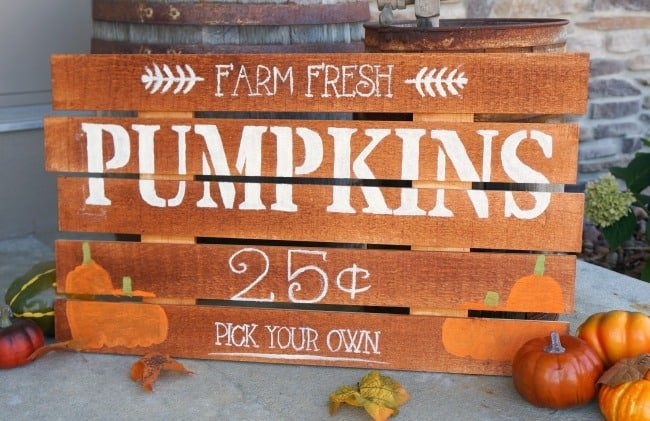 farm fresh pumpkin painted wood sign