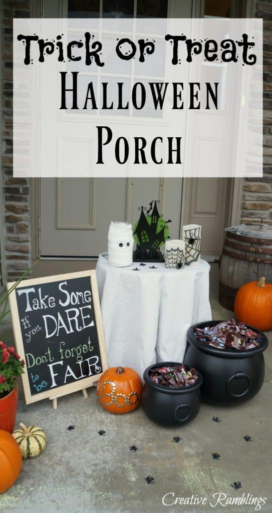 A spooky Halloween porch perfect for Trick or Treat. Leave a bowl of candy in this spooky display.