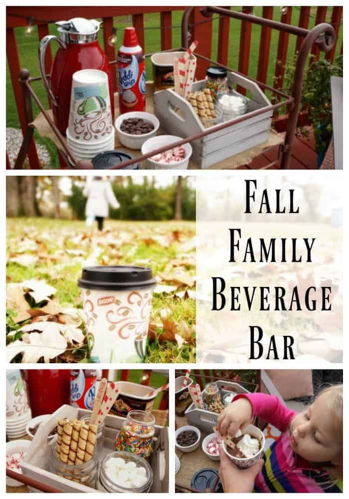 Make memories this season with a Fall family beverage bar and a family walk through the leaves
