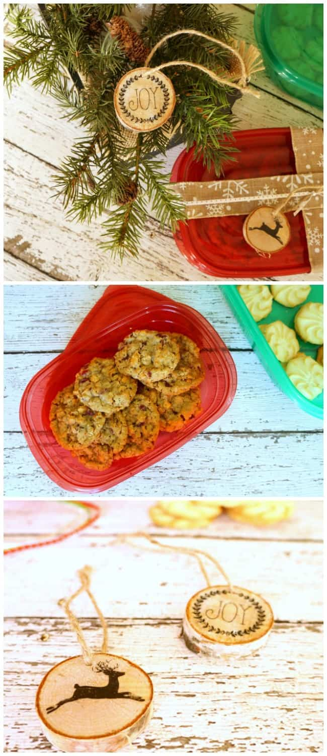Create stunning holiday gifts with these red and green containers and easy to make wood gift tags that double as ornaments. #ShareTheHoliday #ad