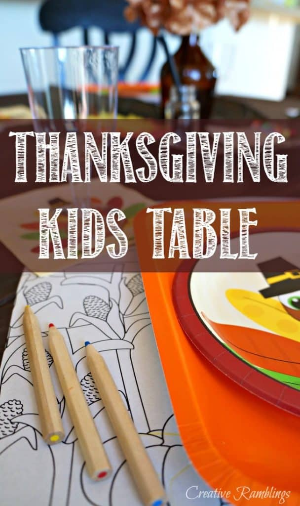 Set a fun Thanksgiving kids table that include festive dishes and fun activities
