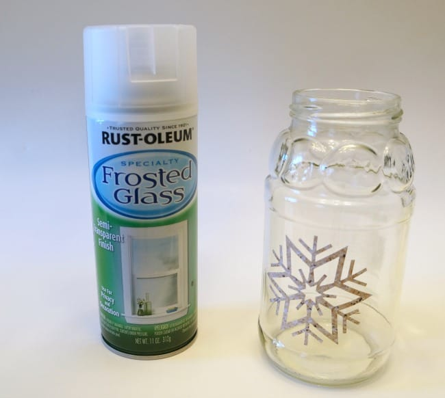 Frosted glass spray paint for snowflake jar luminaries