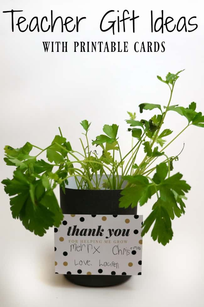 A fresh herb plant makes a nice teacher gift. Add this printable thank you tag and let your child add a special note.