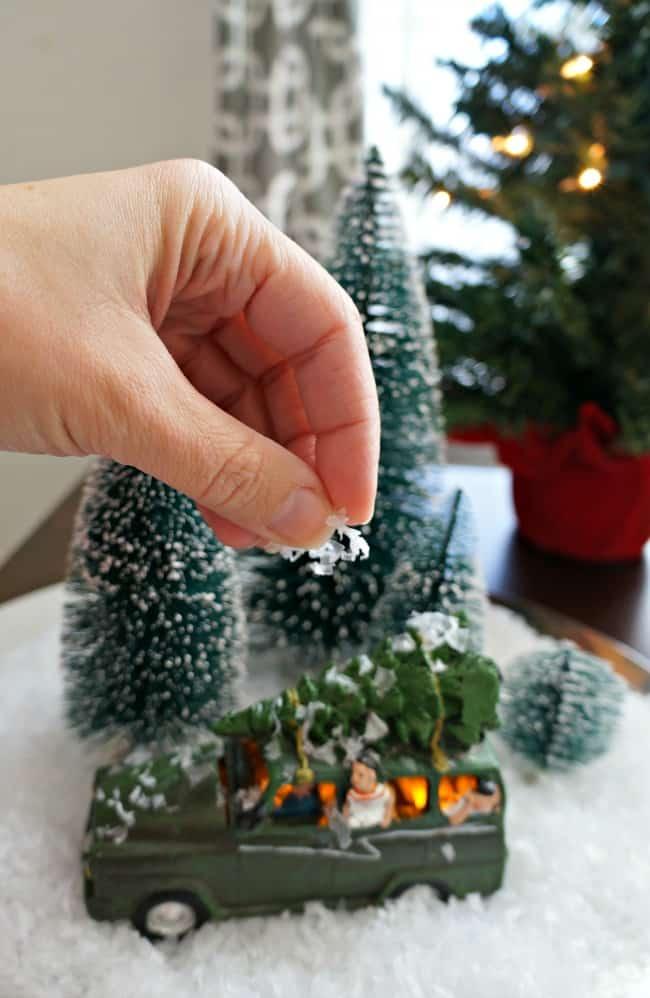 Vintage Christmas scene under glass