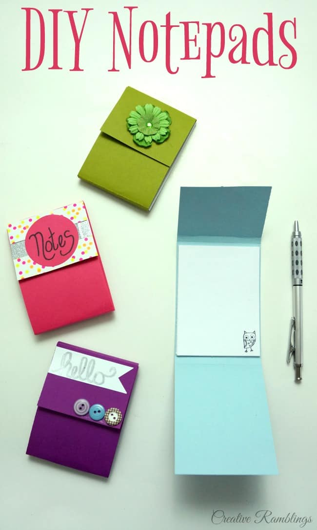 Easy DIY notepad using scrap paper and simple craft supplies.