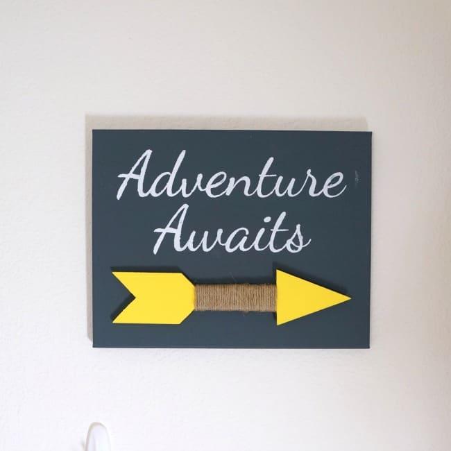 Adventure Awaits Canvas and Wood Arrow Sign