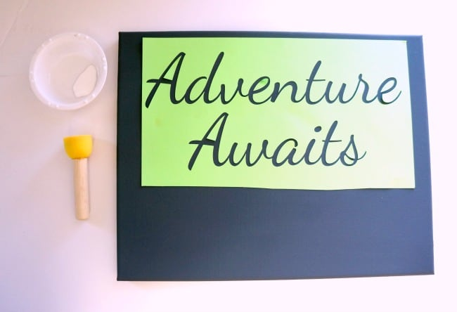 Adventure Awaits Canvas and Wood Arrow Sign