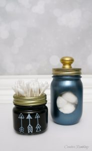 Upcycled Mason Jar Storage in the Bathroom