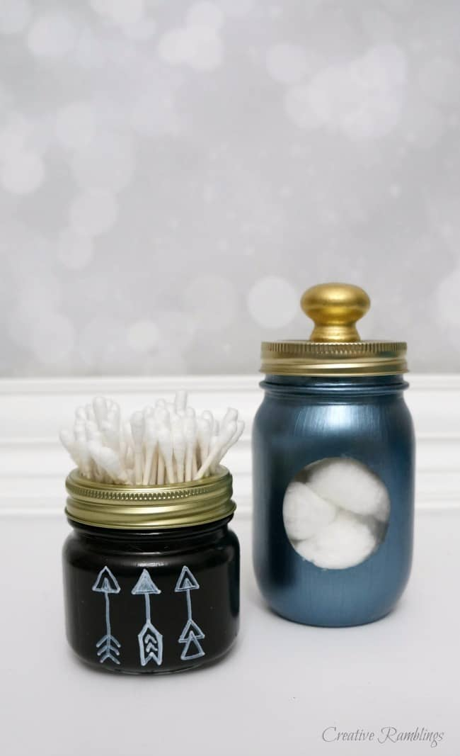 Upcycled Mason Jar Storage in the Bathroom
