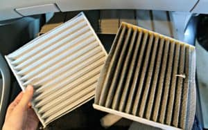 FRAM cabin air filter old and new