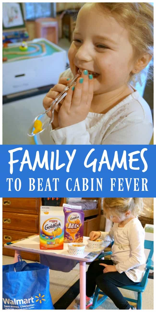 Family games to beat cabin fever, indoor family fun. #ad #GoldfishGameTime