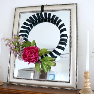 Black White and Pink Floral Mantle and ribbon wrapped wreath