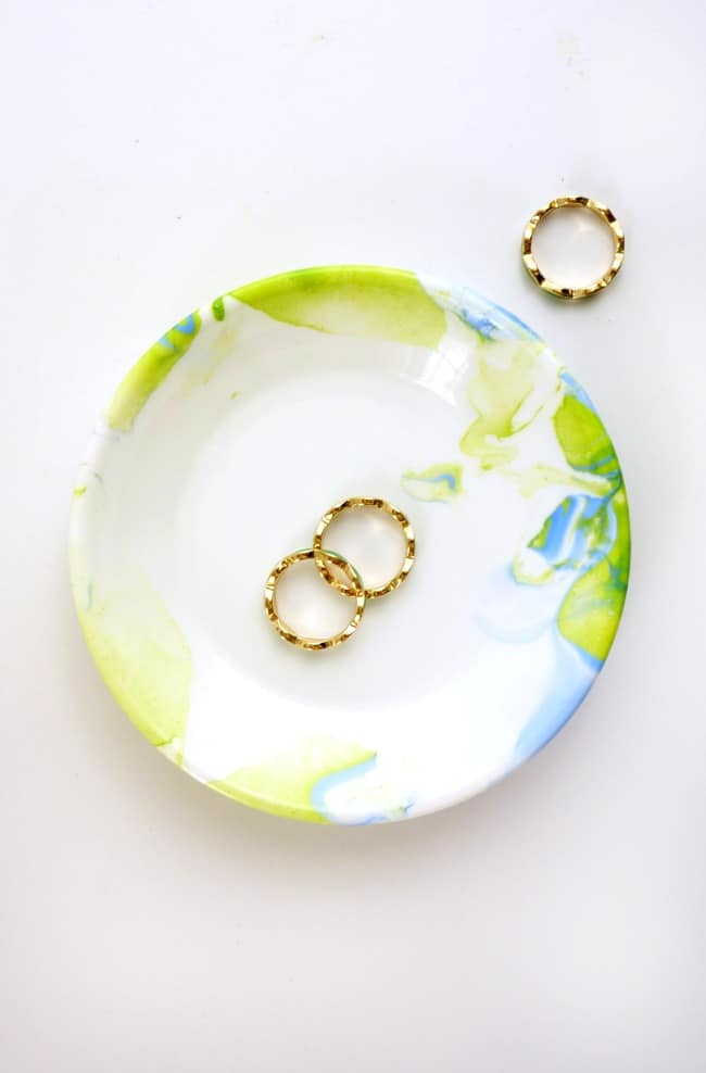 Create a custom jewelry dish with nail polish water marbling.