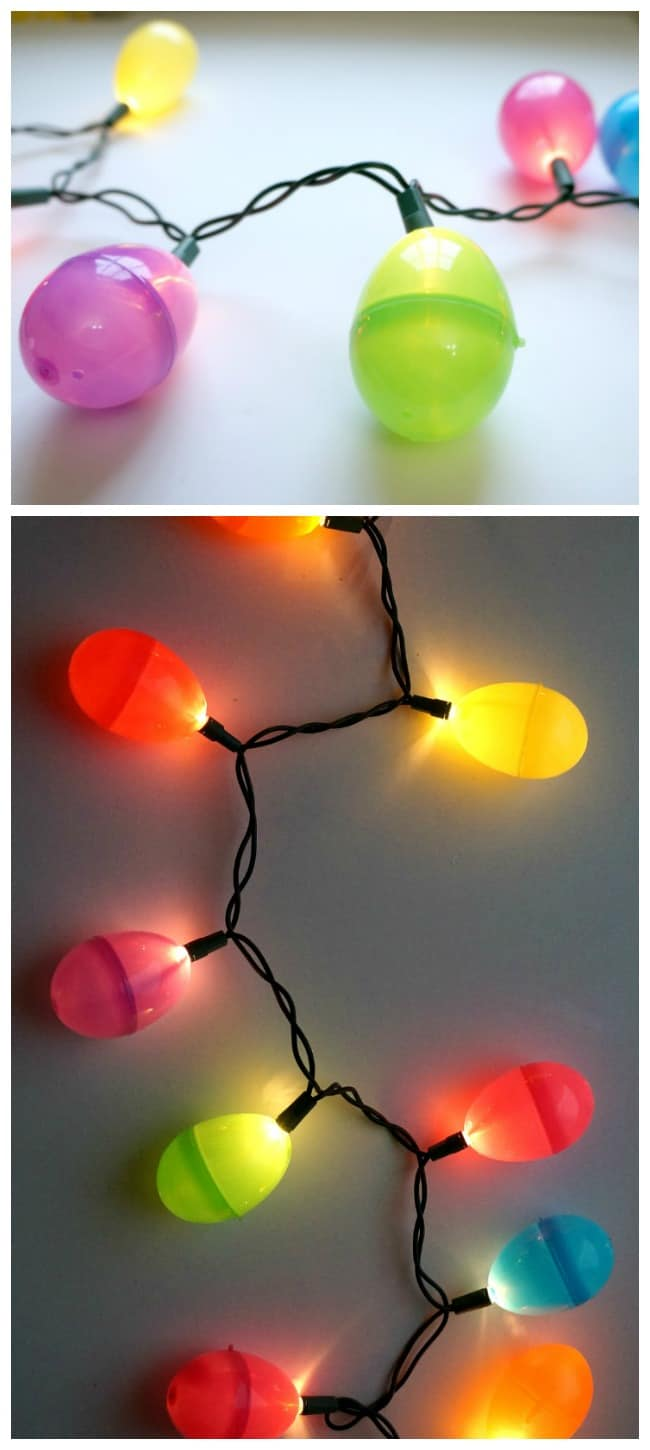 Easter egg string lights, easy DIY project using plastic Easter eggs.
