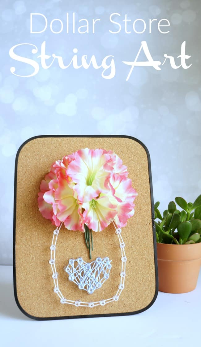 Dollar Store floral string art using a cork board and push pins