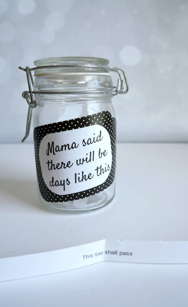 Jar with encouraging words for Mom