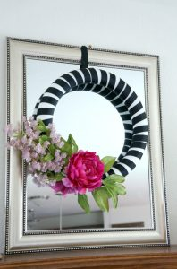 Pink black and white ribbon wrapped wreath