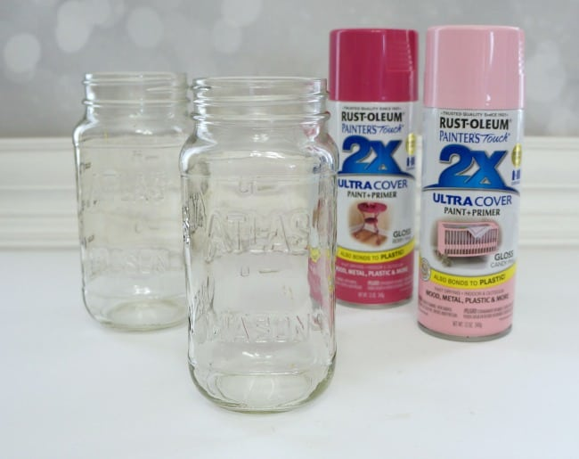 Pink painted mason jars for spring