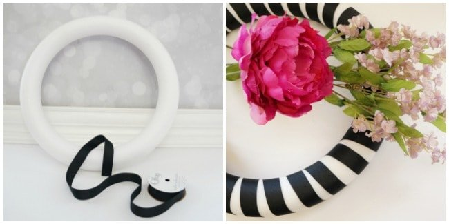 Ribbon wrapped black and white wreath