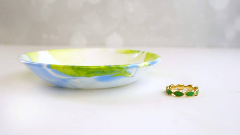 DIY water marbling jewelry dish gift