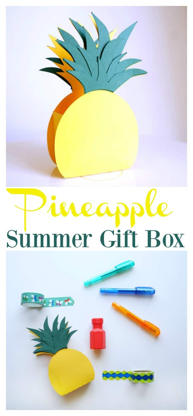 Pineapple Gift Box made with a Silhouette filled With Summer Goodies