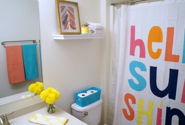 Colorful bathroom refresh from Target with Quilted Northern® Mega Rolls