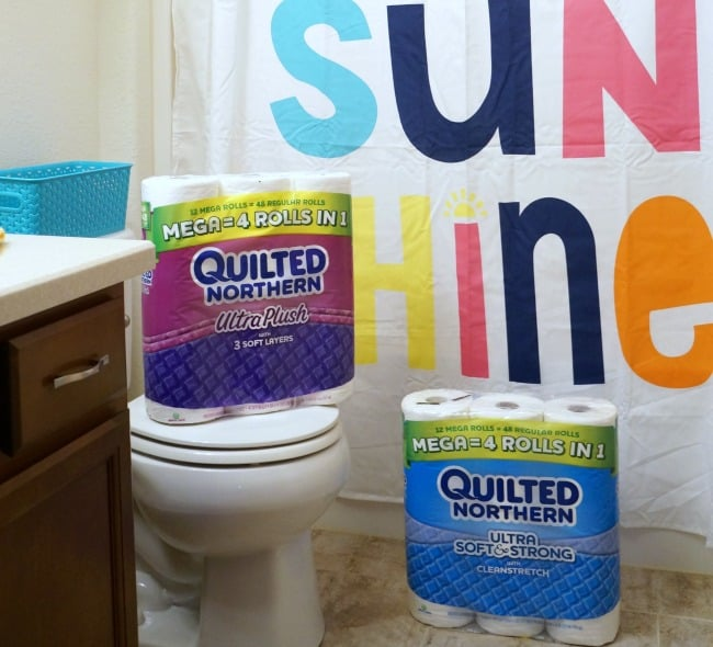Colorful bathroom refresh with Quilted Northern® Mega Rolls