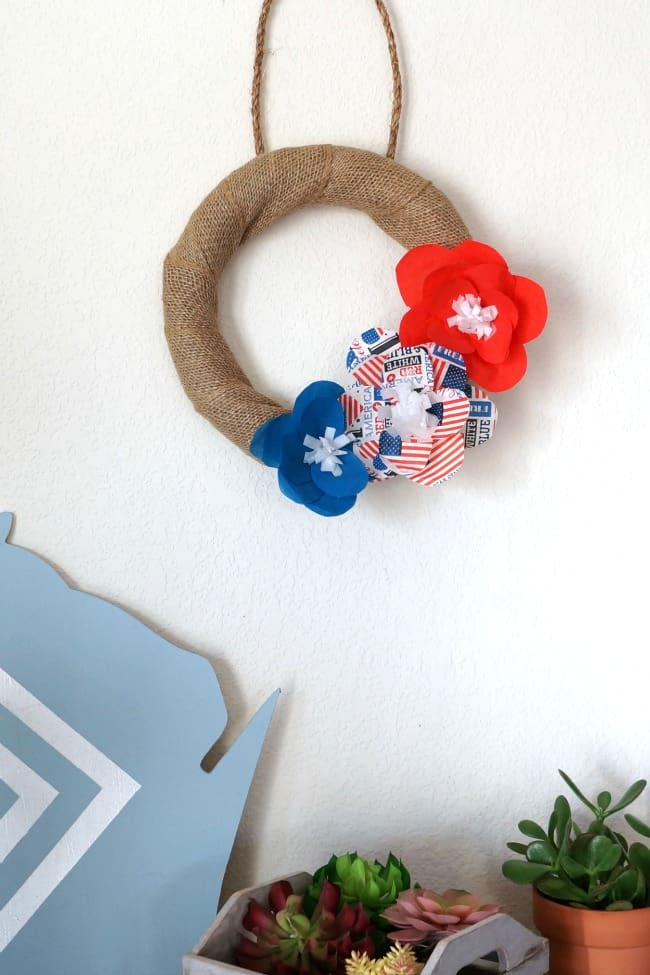 Dollar Store Patriotic Paper Flowers made from napkins. Decorate a burlap wreath with napkin paper flowers