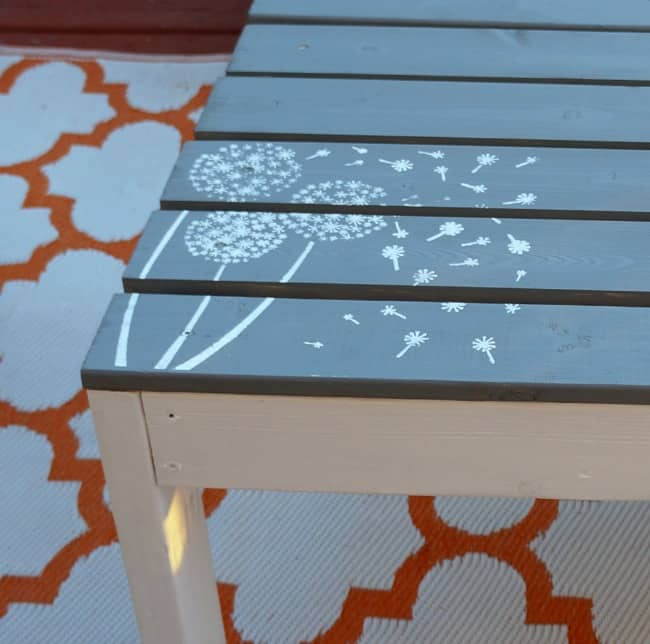 How to Build Paint and Stencil an Outdoor Coffee Table with dandelion stencil