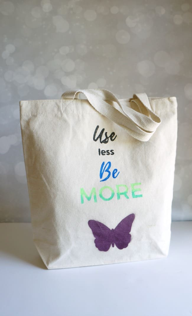 Learn How to Make a Dyed Canvas Reusable Tote.  Use less, be more.